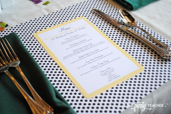 Bee Party by The Party Teacher - Menu and Place Setting
