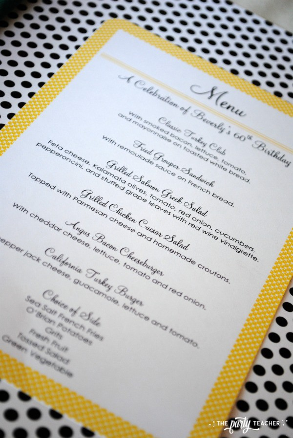 Bee Party by The Party Teacher - Menu