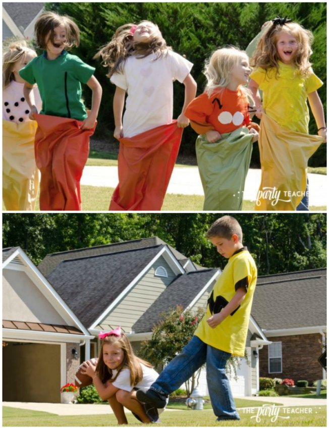 Charlie Brown Thanksgiving Party by The Party Teacher-sack race and football