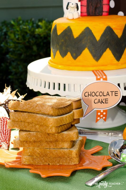 Charlie Brown Thanksgiving Party by The Party Teacher-toast and cake