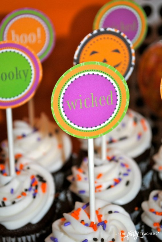 Sweet Not Spooky Halloween Party by The Party Teacher-cupcake toppers
