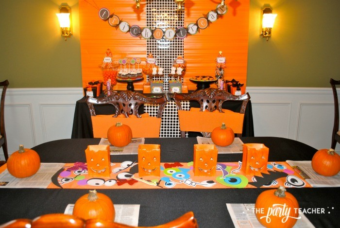 Sweet Not Spooky Halloween Party by The Party Teacher-dessert and craft tables