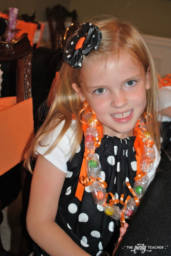 Sweet Not Spooky Halloween Party by The Party Teacher-making candy necklaces 5