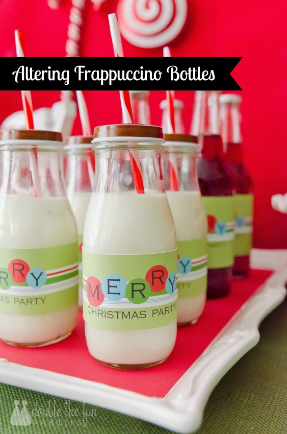 Altering Starbucks Frappuccino bottles by Double the Fun Parties