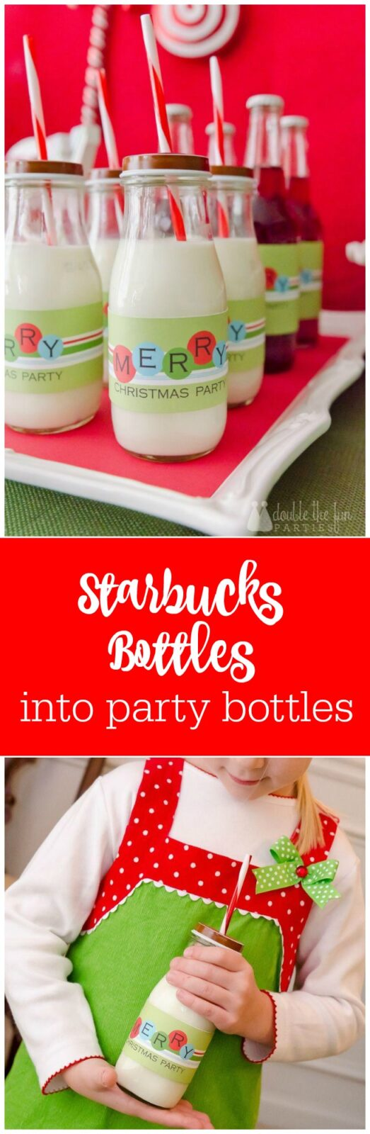 DIY - how to turn Starbucks bottles into party bottles with lids by The Party Teacher