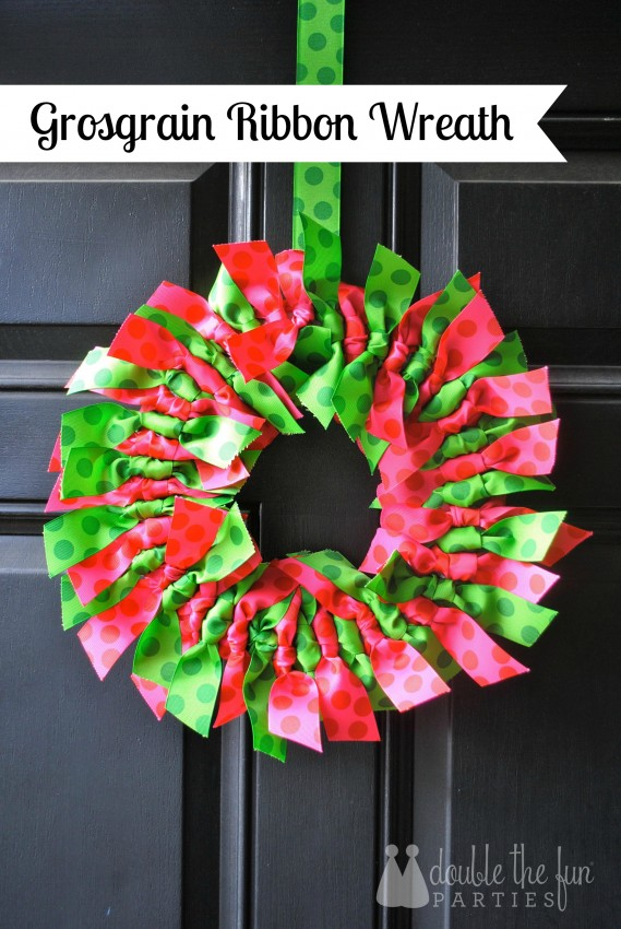 Grosgrain ribbon wreath by Double the Fun Parties