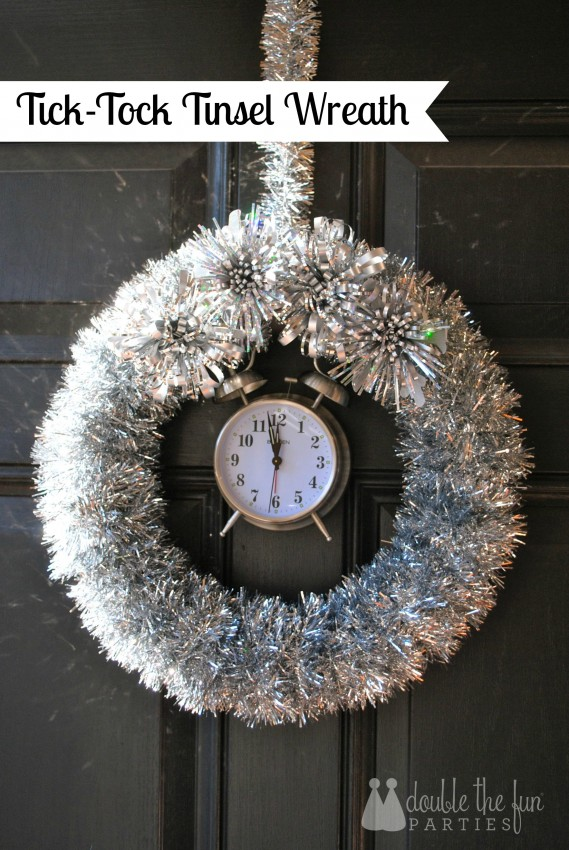 Tick tock tinsel wreath by Double the Fun Parties