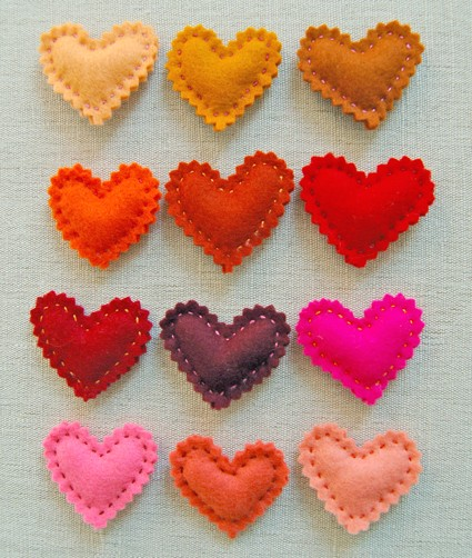 Valentine Felt Hearts Purl Bee