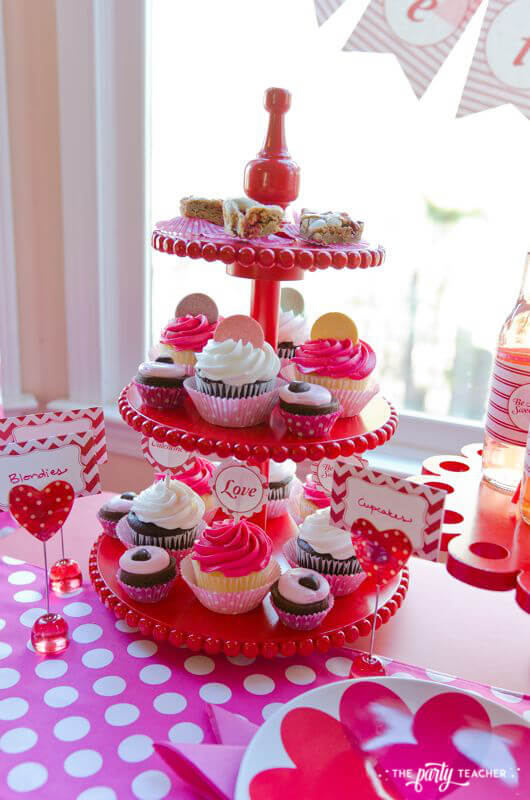 Valentine's Day Party by The Party Teacher - blondies cupcakes brownies