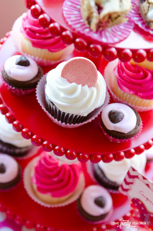 Valentine's Day Party by The Party Teacher - cupcakes with SweeTarts topper