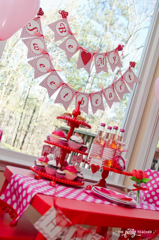 Valentine's Day Party by The Party Teacher - dessert table backdrop