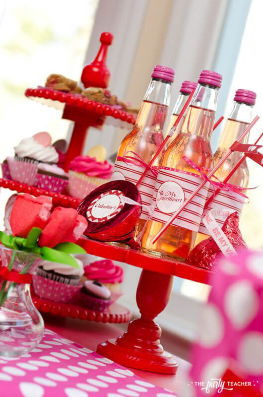 Valentine's Day Party by The Party Teacher - pink sodas and dessert tray