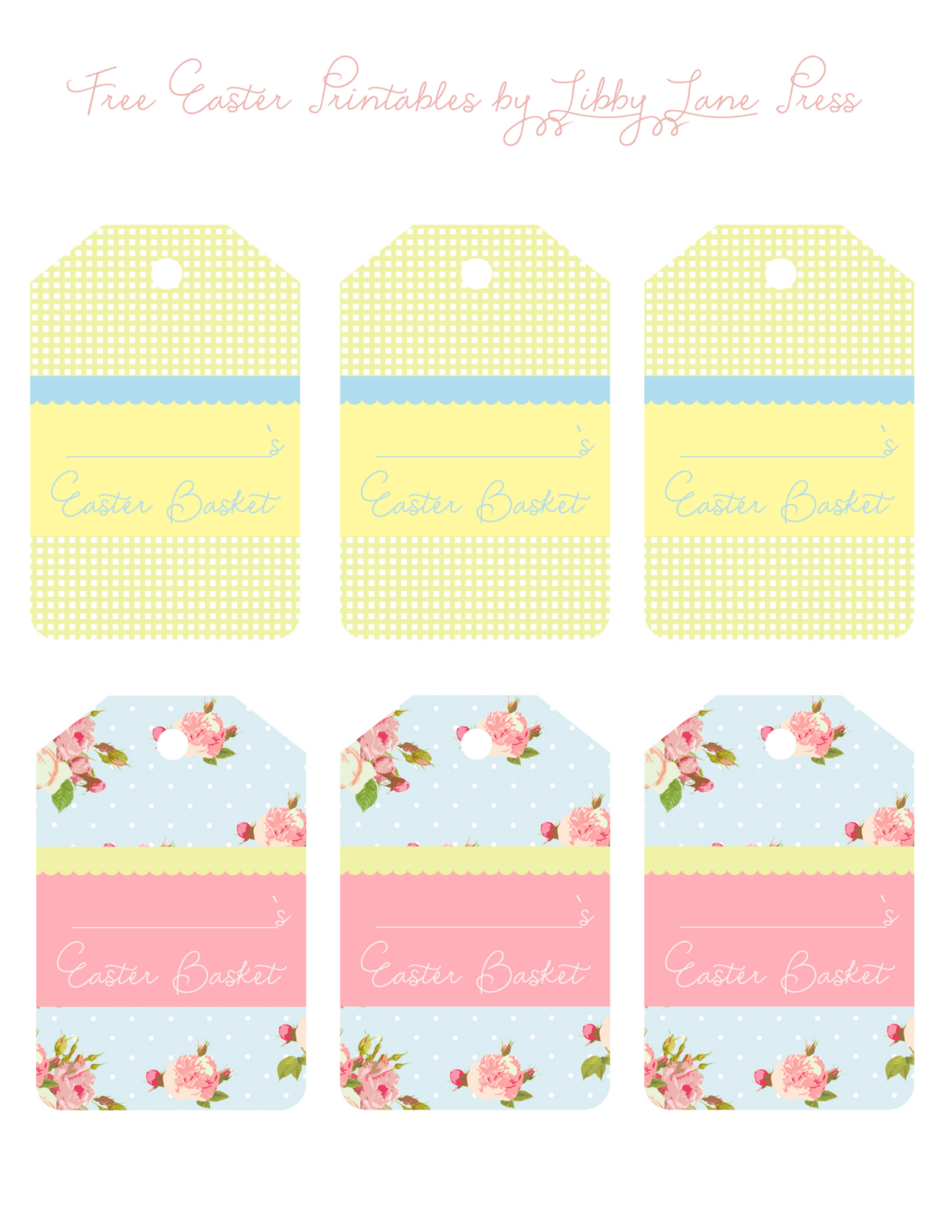 easter name tags template - easter basket tags free the party teacher