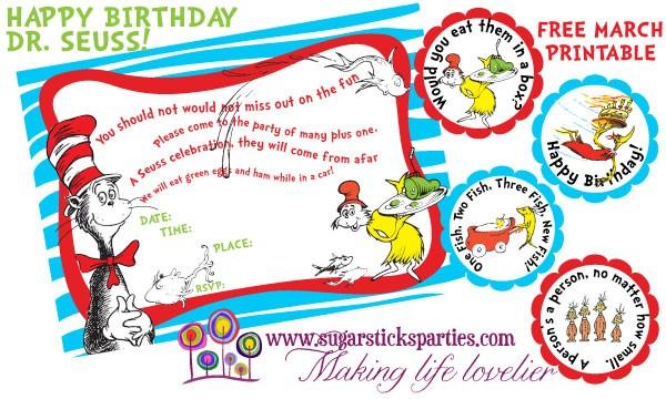Freebie Friday Dr Seuss Printables The Party Teacher
