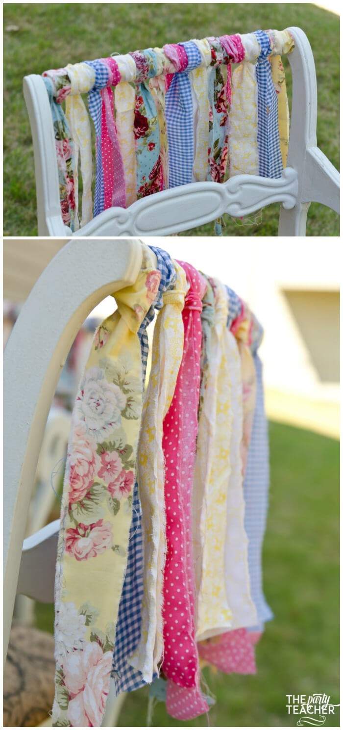 Shabby Chic Easter Party chair garland by The Party Teacher