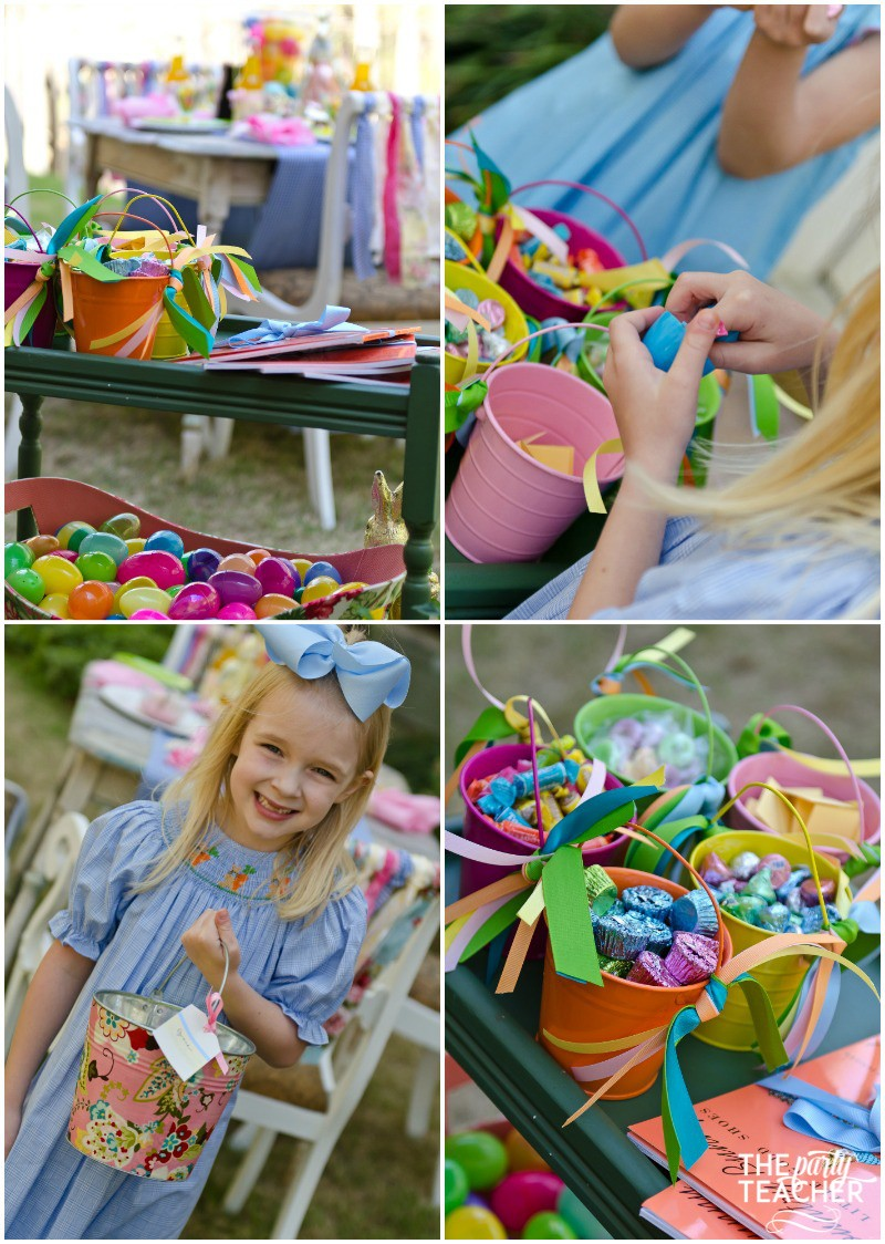 Shabby Chic Easter Party filling eggs by The Party Teacher