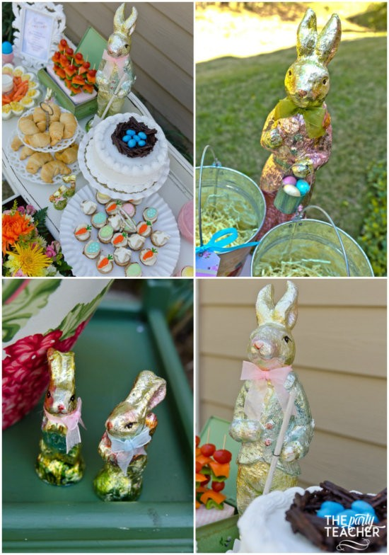 Shabby Chic Easter Party foil bunnies by The Party Teacher