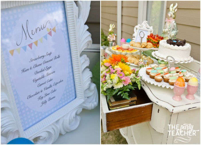 Shabby Chic Easter Party menu dessert table by The Party Teacher