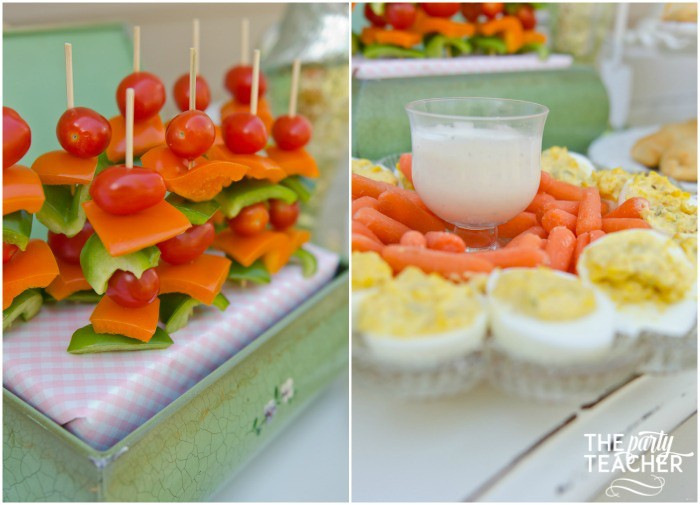 Shabby Chic Easter Party veggie skewers deviled eggs by The Party Teacher