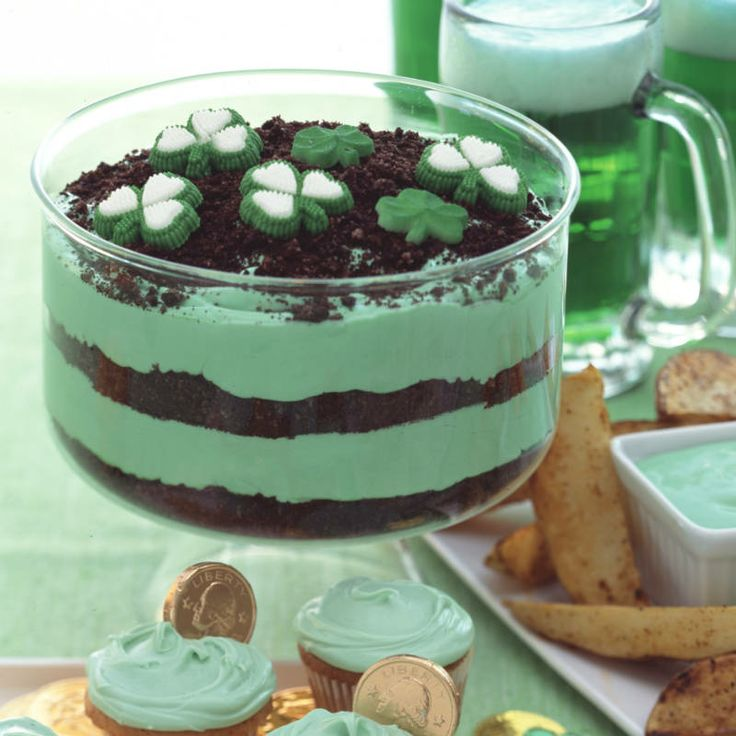 St Patrick's Day Layered Pudding