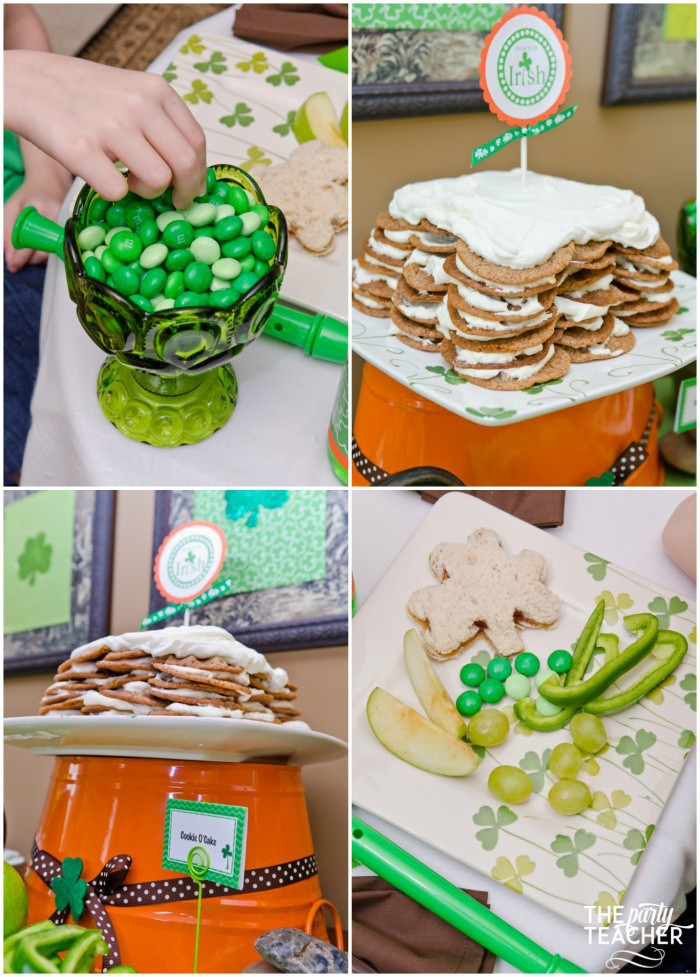 St. Patrick's Day Party for kids by The Party Teacher - lunch dessert