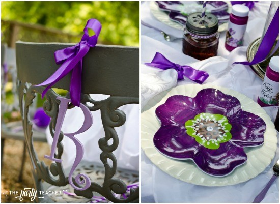 Flower Fairy Party by The Party Teacher - chair decoration and place setting
