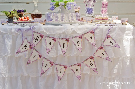 Flower Fairy Party by The Party Teacher - dessert table with happy birthday banner