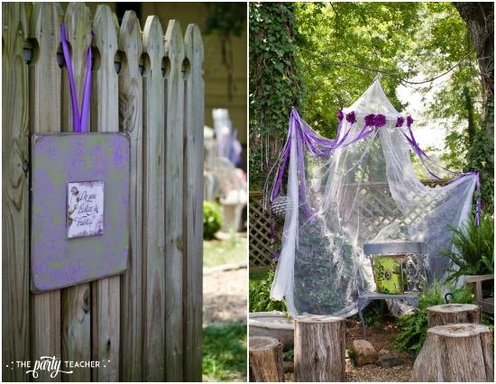 Flower Fairy Party by The Party Teacher - fairy house centerpiece - garden gate, welcome fairies sign, fairy bower