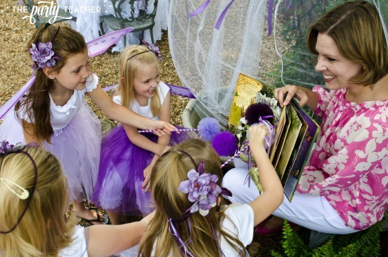 Flower Fairy Party by The Party Teacher - reading in the fairy bower