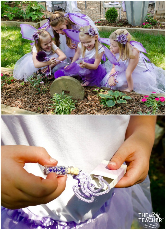 Flower Fairy Party - scavenger hunt and fairy dust necklaces