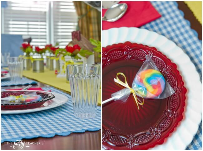 Wizard of Oz party by The Party Teacher - place setting with rainbow lollipop