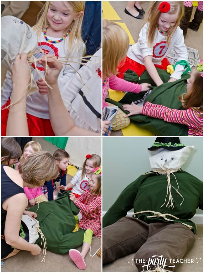 Wizard of Oz party by The Party Teacher - stuffing the scarecrow