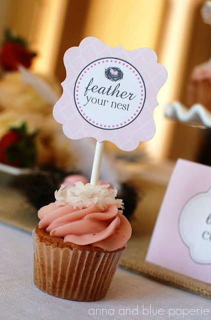 anna and blue paperie feather her nest cupcake logo