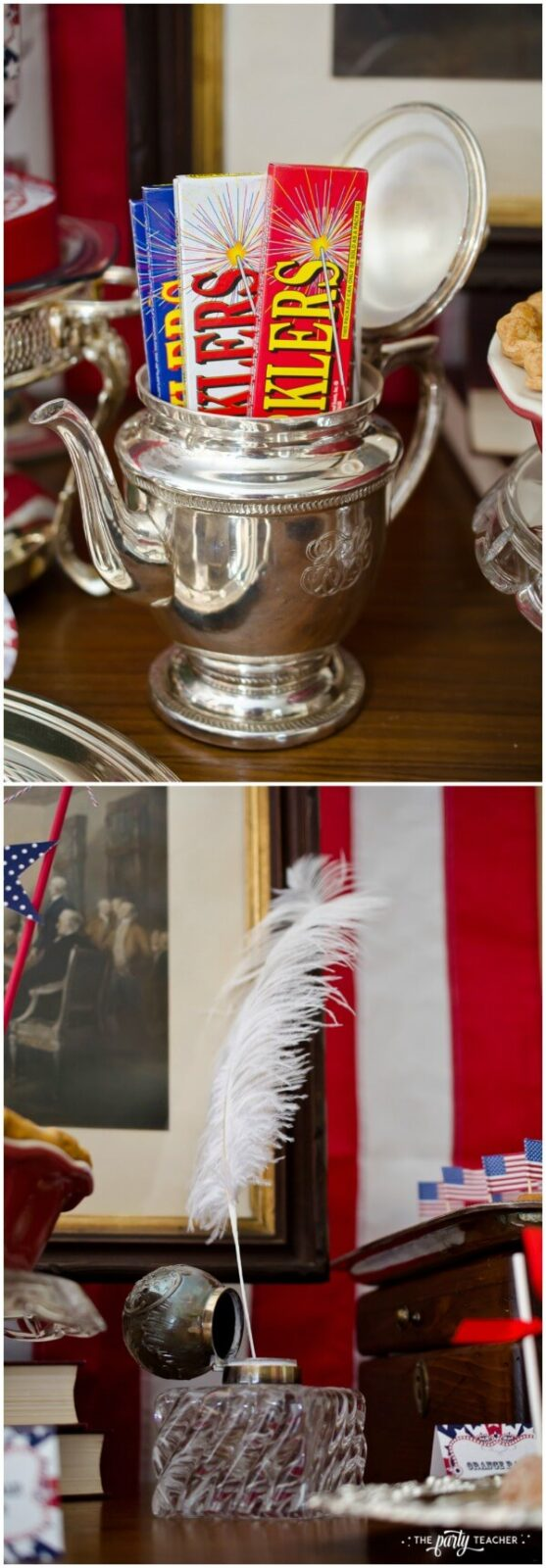 Pull out the silver and crystal for your Declaration of Independence inspired 4th of July Party - The Party Teacher