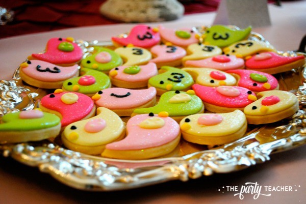 Bird Baby Shower by The Party Teacher - mini bird cookies