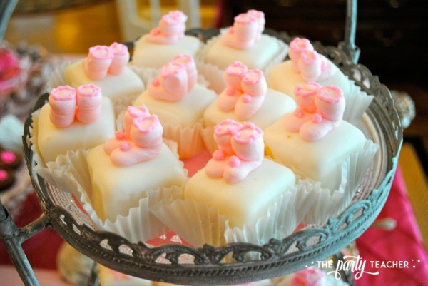 Bird Baby Shower by The Party Teacher - petit fours with baby booties