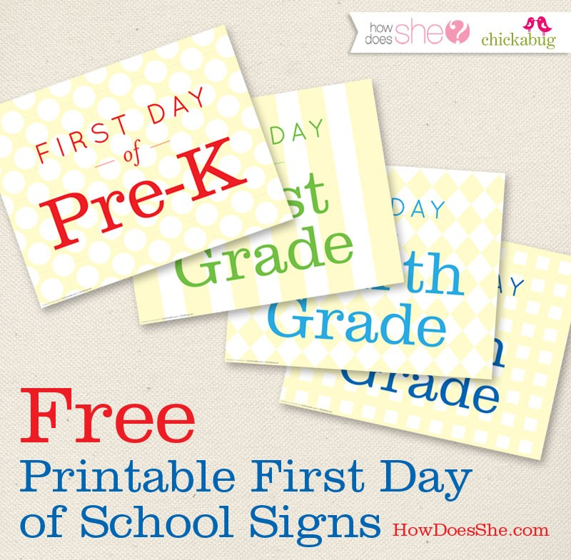 FF Chickabug First Day of School Signs