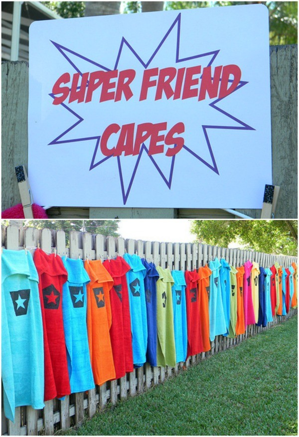 Make towels into superhero capes - superhero swim party by Lizard and Ladybug.jpg