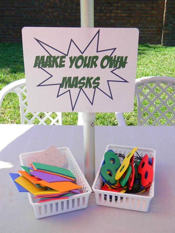 Make your own superhero masks station
