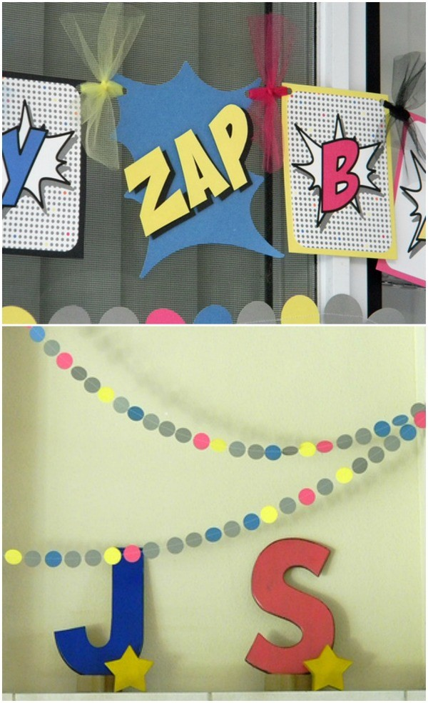 Superhero party banners - party by Lizard and Ladybug