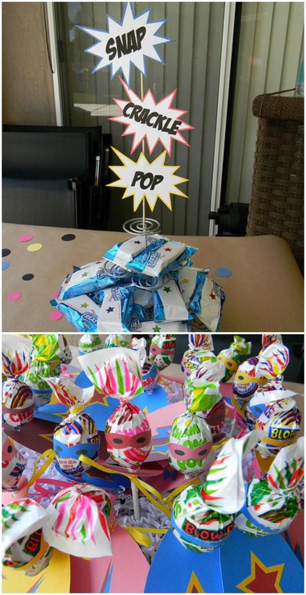 Superhero party - snap crackle pop rice krispies treats - superhero lollipops