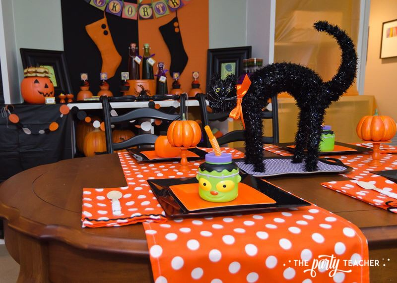 Halloween Trick or Treat Party by The Party Teacher - black cat centerpiece