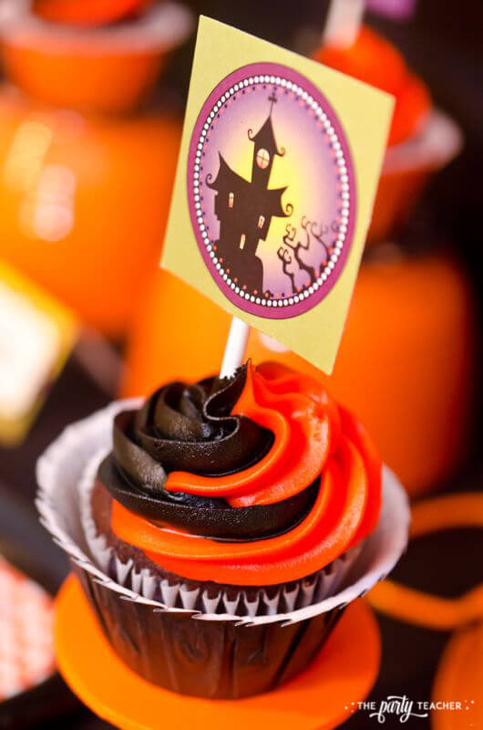 Halloween Trick or Treat Party by The Party Teacher - cupcake topper