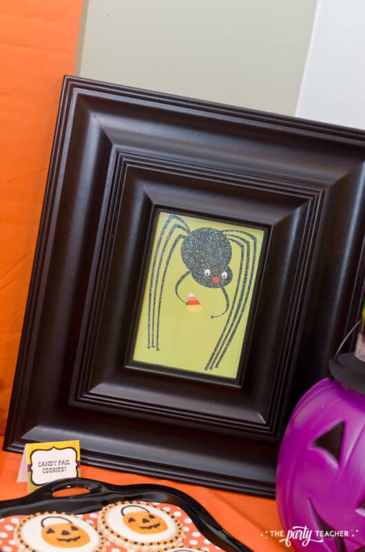 Halloween Trick or Treat Party by The Party Teacher - framed Halloween cards on dessert table