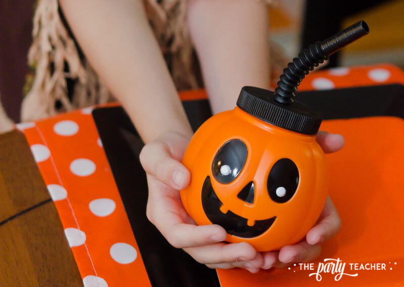 Halloween Trick or Treat Party by The Party Teacher - jack-o-lantern cup