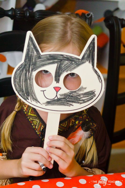 Halloween trick or treat party by The Party Teacher - wood mask coloring