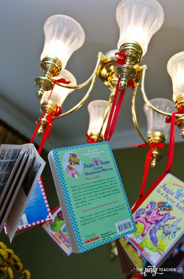 Junie B Jones Birthday Party by The Party Teacher - books hanging from chandelier