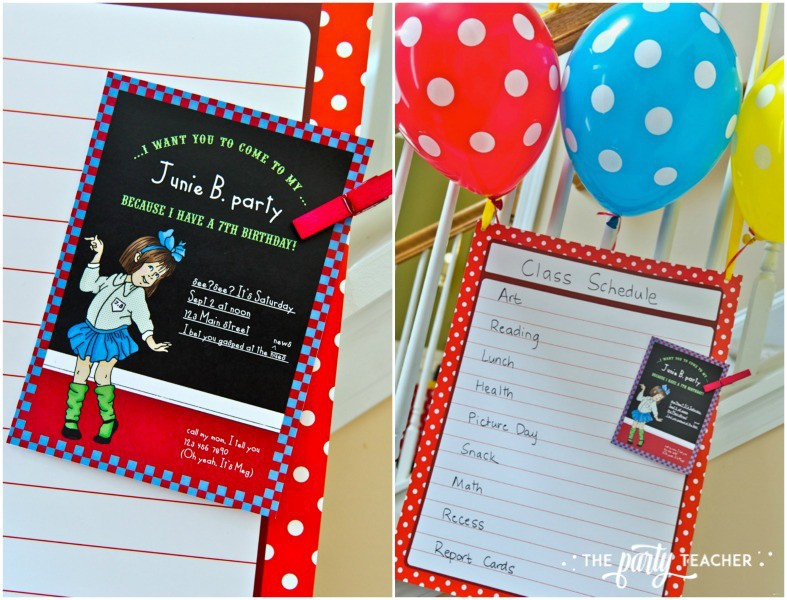 Junie B Jones Birthday Party by The Party Teacher - invitation and class schedule