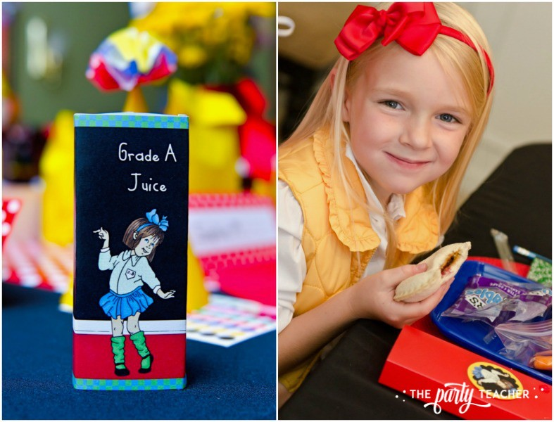 Junie B Jones Birthday Party by The Party Teacher - juice and PBJ sandwiches
