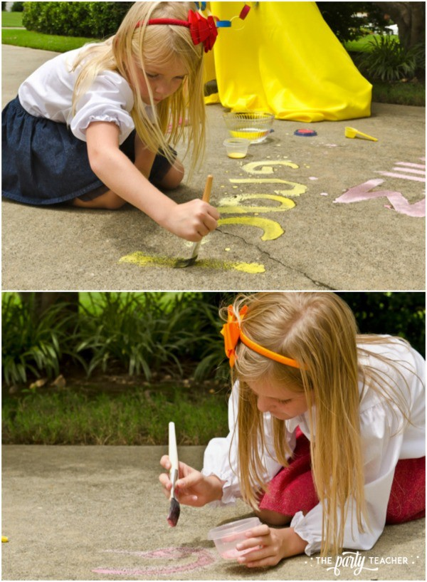 Junie B Jones Birthday Party by The Party Teacher - painting with sidewalk chalk